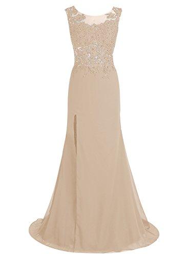 Bbonlinedress Lang Chiffon Abendkleider Applique Promi-Kleider Champagner