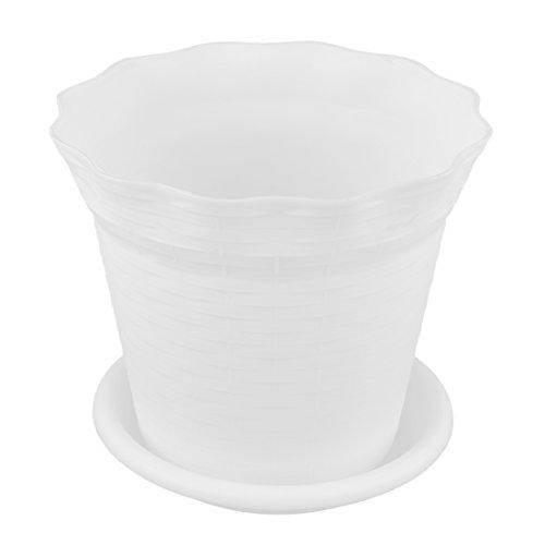 sourcingmap Maceta blanco de plástico para sembrar flores de 18,7cm de diámetro de decoración jardín, oficina y casa