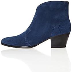 FIND Damen Western Ankle Cowboy Stiefel, Blau (Navy/black), 38 EU