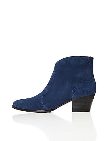 FIND Women's Western Ankle Boots, Blue (Navy/Black), 6 UK 39