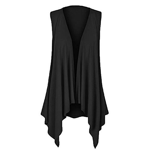 YWLINK Damen ÄRmellos RüSchen Drapierter UnregelmäßIger Strickjacke Einfarbig Weste Top Bluse(XL,Schwarz)