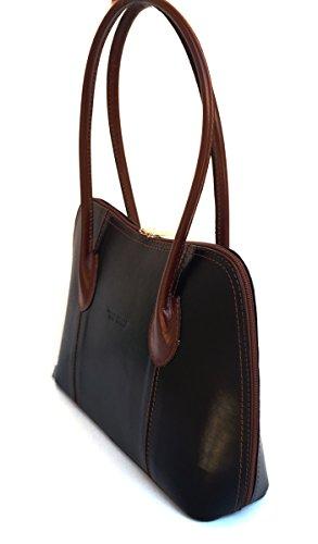 SUPERFLYBAGS Damentasche Schultertasche Echtes Leder Modell Nice Made In Italy Schwarz-Braun