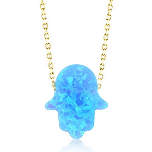 Gelin Collier pour femme en or jaune 585 véritable 14 carats avec pendentif main de Fatima Cadeau d'anniversaire Chaîne 45 cm