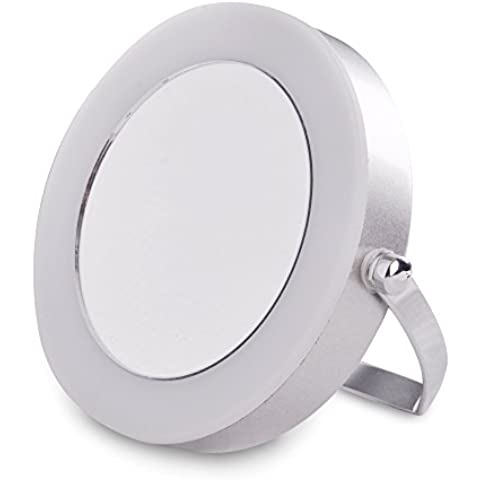 Moderno Espejo con Lupa Portátil con Luz LED MiniSun para Baño en Cromo Plateado a Pilas – Maquillaje y Afeitado