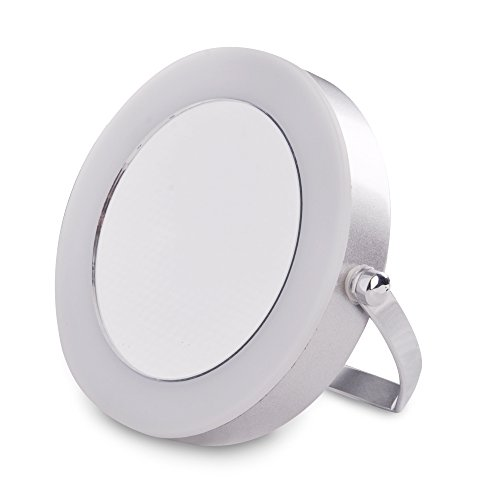 Moderno-Espejo-con-Lupa-Porttil-con-Luz-LED-MiniSun-para-Bao-en-Cromo-Plateado-a-Pilas-Maquillaje-y-Afeitado
