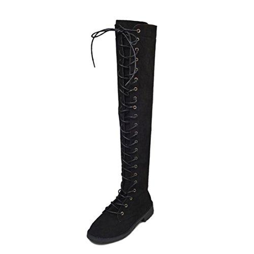 Knee High Boots,Women Cross-tied Platform Shoes Flat Heel Boots Knee High (40,...