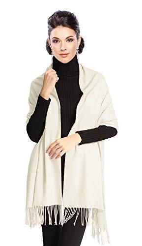 Moschen-Bayern Pashmina Stola Damen - Schultertuch Schal für Hochzeit/Abendkleid Dirndl festlich elegant - Weiß Creme Elfenbein Ivory