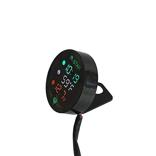 Regenmantel Nachtsicht Motorrad Meter LED Digitalanzeige Voltmeter Spannung Volt Temperaturanzeige Zeit LED 3 in 1 Zubehör für elektrogeräte (Farbe : Schwarz)
