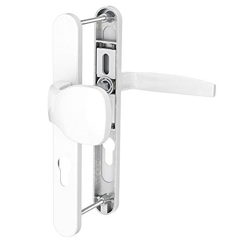 Schmalrahmengarnitur Schutzbeschlag Schildgarnitur Wechselgarnitur 92 mm - Drücker/ Knopf - div. Farben (Weiß pulverbeschichtet)