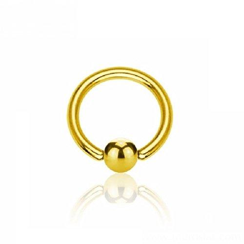 eeddoo® 3,2 mm - 19 mm - 8 mm - Gold Steel - BCR Klemmring (Piercing Ball Closure Ring für u.a. Brustwarzen-, Nasen-, Septum- und Ohrpiercings)