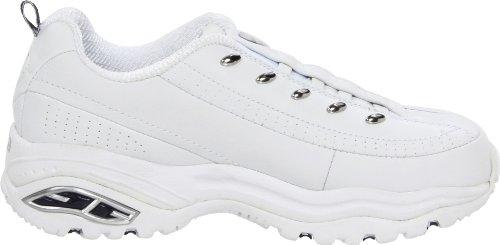 Skechers Sport Women's Premium-Premix Slip-On Sneaker,White/Navy,10 M US Bianco/ blu marino
