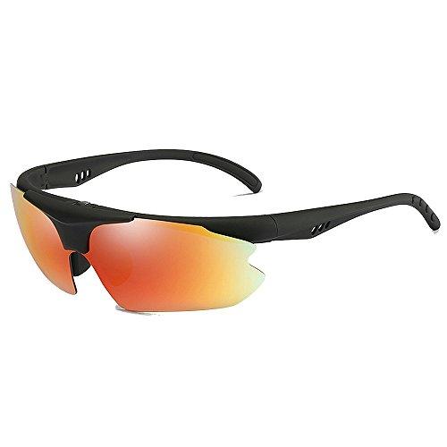 Doxtecret Herrenmode Reitbrille Sonnenbrille Qualitätssicherung UV-Schutz Strahlenresistenz Starker Wind Ultraleicht Langlebige Qualitätssicherung Niemals Enden (Farbe : Rot)