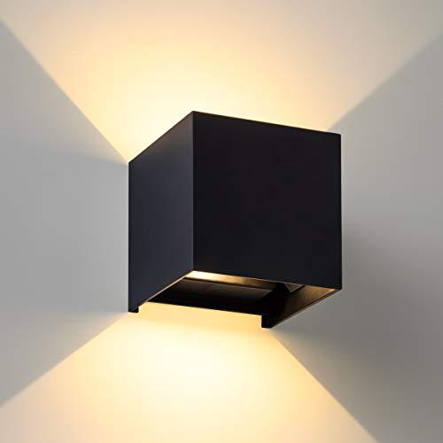 Preisvergleich Produktbild SEALIGHT LED Wandleuchte Wandlampe 7W IP67 Wasserdicht Innen / Außen 3000K Wandbeleuchtung Warmweiß Licht mit einstellbar Abstrahlwinkel schwarz