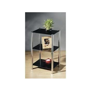 This Item Black Glass Chrome And Steel 3 Tier Shelf Coffee End Table Unit