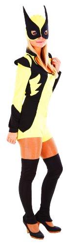 erdbeerloft - Damen Mädchen Karneval Kostüm- Superwoman Super Hero mit Maske Overknees, gelb schwarz, 34-38 (Superwoman Kostüm Für Erwachsene)