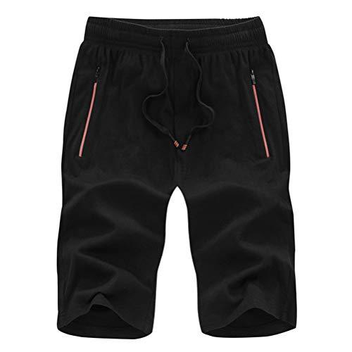 MäNner Casual Shorts Einfarbig Komfort Knielange ReißVerschlusstaschen Kordelzug Cool Beach Homens Clothing -
