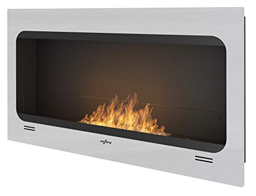 Ethanol Fireplace Sined Fire Inspire for Built-in and Wall Installation INOX Brushed Frame with Toned Safety Glass Burner 50 cm Fuel Tank 1 Liter Flame Adjustable