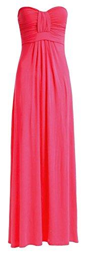 Fast Fashion Damen Maxi Kleid Plain Plus Size Knot Bug Trägerlosen Front (Maxi-kleid Plus)