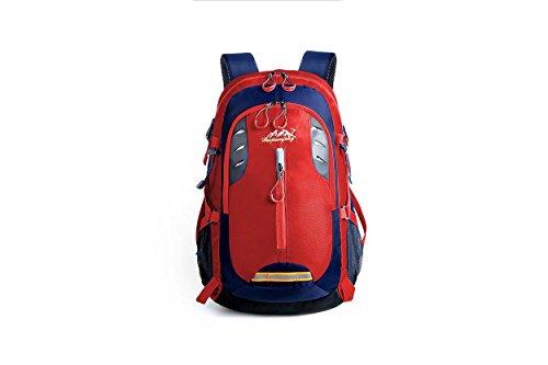 Rucksack draußen wasserdicht Large Kapazität leicht tragbar Sport Rucksack Bergsteigen Tasche Wandern Reiten Multifunktions Pack H49 x L29 x T17 cm Red