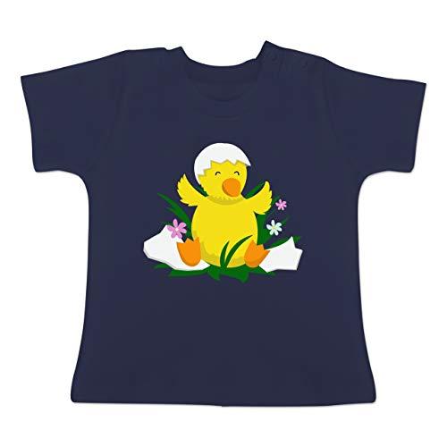 Küken Mädchen T-shirt (Tiermotive Baby - süßes Küken - 18-24 Monate - Navy Blau - BZ02 - Baby T-Shirt Kurzarm)