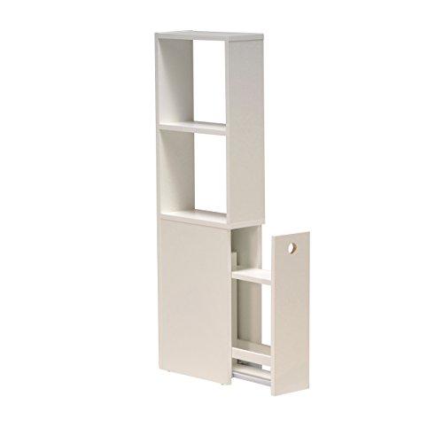 WEBER INDUSTRIES 81029C Contemporain Meuble de Toilettes avec Tiroir de Rangement/2 Niches Bois Blanc 15 x 35 x 110,5 cm