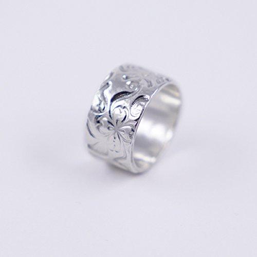 Anillo ancho de plata para mujer con flores de plata 1000 reciclada, Anillos de plata para mujer de moda, anillo ancho de plata con flores