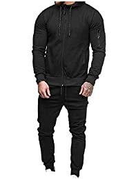 db4b8be73b958 Vinyst Men Zipper Casual Workout Pure Color Fitness Tops Jackets and  Sweatpants Outfit