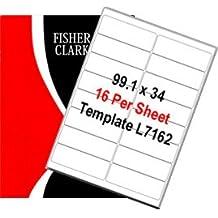 Fisherclark - 100 Hojas A4 Blancas de Etiquetas de Dirección - 16 Etiquetas por Hoja