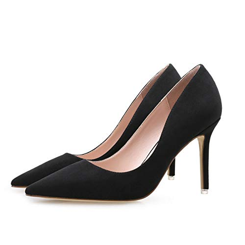 Suede Stiletto Heel (Women es High Heels, 2019 Spring New Stiletto Heels Pointed Women ' S Shoes Korean Version of Suede Shallow Mouth Comfortable with The Same Women ' S Shoes,b,38)