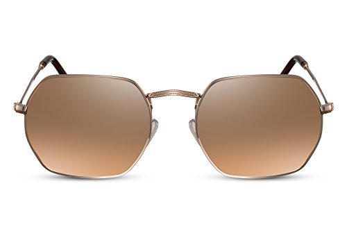 Cheapass Sonnenbrille Damen o. Herren UV-400 Rund-e Brille Kupfer Gold-en Retro Metall