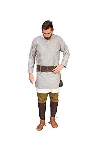 Medieval Túnica lana manga corta Túnica Larga auténtico Gris gris gris mediano