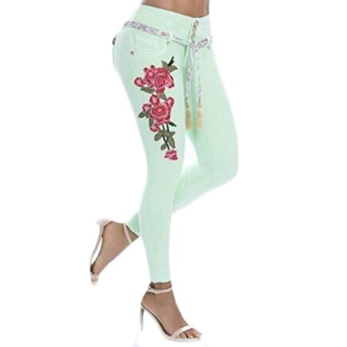 Epig Womens Stickerei High Waist Elastic Straight Barrel Enge Füße Jeans -