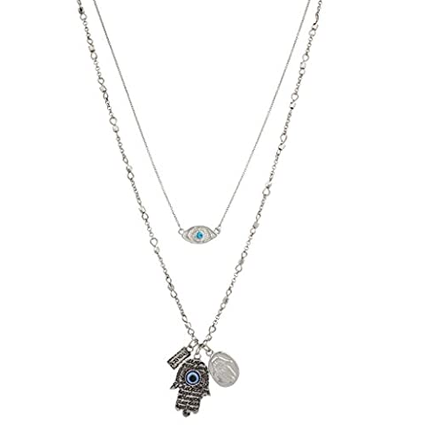 Lux Accessories Boho Burnish Silver Evil Eye and Hamsa Layered Charm Necklace - Magnetic Sterling Silver Ring