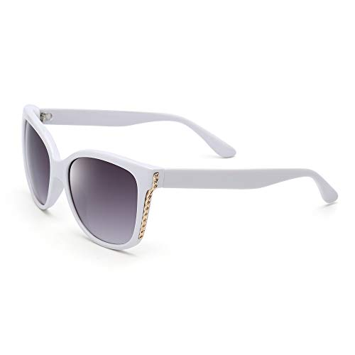 JM Luxus Verschönert Oversized Stilvoll Designer Schatten Gradient Sonnenbrille Damen (Weiß/Gradient Grau)