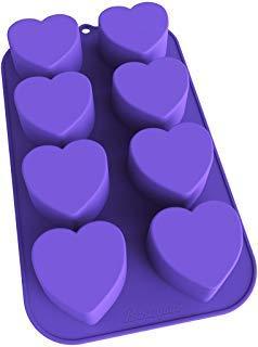 bakerpan Silikon Mini Kuchenform, Muffin Backblech, Gebäck Form, 21/5,1cm Herzen, 8Mulden violett