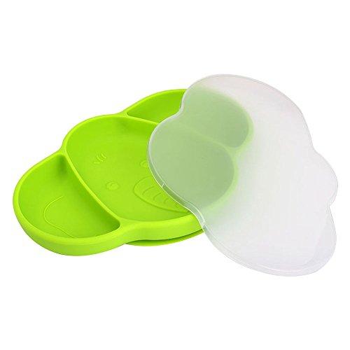 Baby geteilter Teller Silikon Saugnapf Teller für Kleinkinder mit Deckel Elefant Kleinkind Tisch-Sets geteilten Teller auslaufsicher Nonslip geteilten - Platten Für Aufgeteilt Kinder