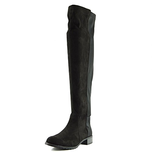 Kick Footwear Damen über Den Knie-Hohe Reitstiefel-Elastische Flache Stiefel - UK 5/EU 38, Schwarz Wildleder, Women's Over The Knee High Elasticated Stretch Boots (Boots Womens Flach High)