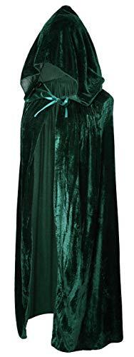 Crizcape Kinder Kostüm-Umhang aus Samt, Cape, Umhang mit Kapuze, ideal für Halloween-Partys, Alter: 2-18 Jahre - grün - L/Alter - Umhang Kostüm