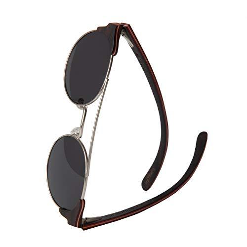 WOLA Damen Herren Sonnenbrille Holz FEU Brille rund mit Metallrahmen polarisiert UV400 Ebenholz Unisex Damen M - Herren S