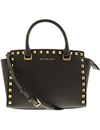 a97286296fac Michael Kors Women's Selma Stud Medium Top Zip Leather Satchel Top-Handle  Bag