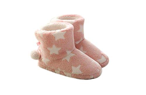 GDXH Neu Damenschuhe Pentagramm Muster Schnee Stiefel Hausschuhe & Flip-Flops Herbst Winter Für Casua Home Indoor Outdoor Mode Hausschuhe (Farbe : Rosa, Größe : S)