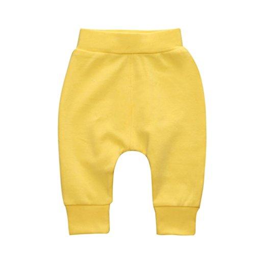 WYXlink Toddler Children Trousers Baby Girls Boys Stripe Pants Solid Pencil Pants Warm Leggings Pants (0-6 Months, Yellow)