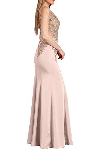 Sunvary Damen Rund Stickrei Abendkleider Bodenlang Mutterkleider Neu Ballkleid Rosa