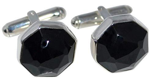 Herren-Manschettenknöpfe Sterling-Silber 925 Onyx achteckig Schwarz