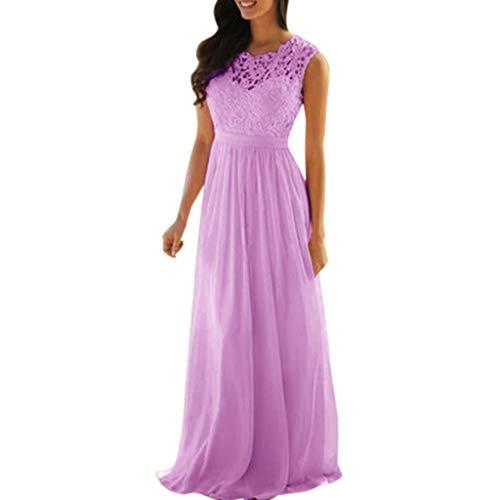 be60975f323d Mymyguoe Mujeres Vestido sin Mangas Encaje Apliques Elegantes Vestidos de  Dama de Honor de Coral Vestido
