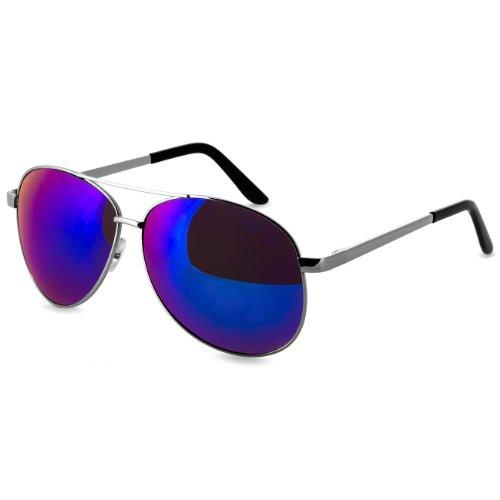 Caspar SG005 Unisex Retro Pilotenbrille, Farbe:blau