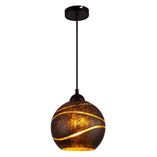 Pendel Decken Leuchte Glas Kugel Lampe Dielen Blatt-Gold Design Hänge Strahler Globo 54005H -