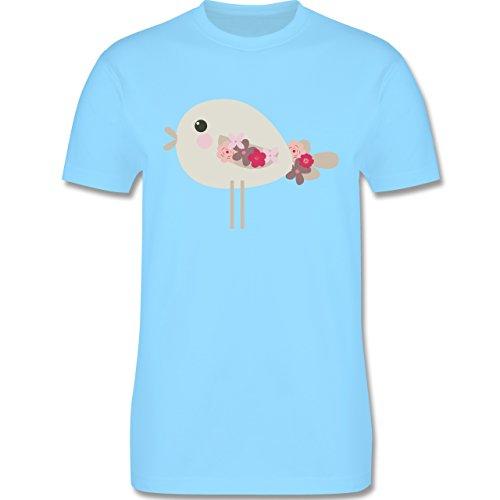 Ostern - Süßer Vogel - Frühlingstiere mit Blumen - Herren Premium T-Shirt Hellblau