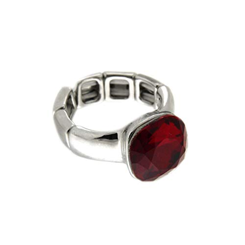 Sweet Deluxe Stretchring Diva, Silber/rot I Damen-Ring I Mode-Schmuck Ring für Frauen I Ringe Rings für Mädchen I modisches - Große Kostüm Schmuck Ringe