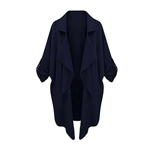 Kolylong® Frauen Outwear Jackenmantel Frau atmosphärischen beiläufigen großen Mantel Frau Windbreaker Lässige Strickjacke (S, Marine) (Schalkragen-hosen-anzug)